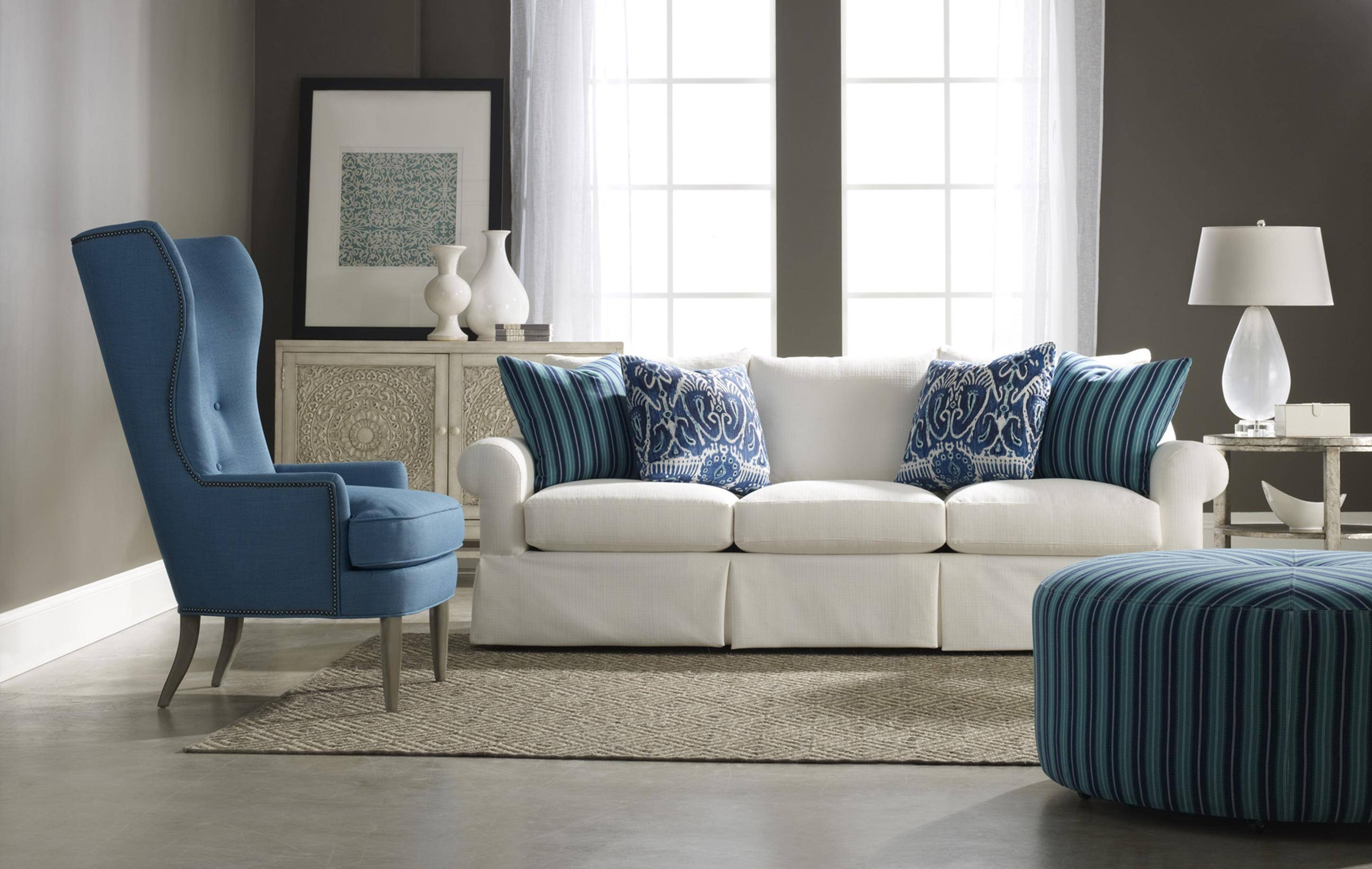 Traditional Skirted Three Over Three Sofasam Moore | Wolf And With Sam Moore Sofas (View 5 of 15)