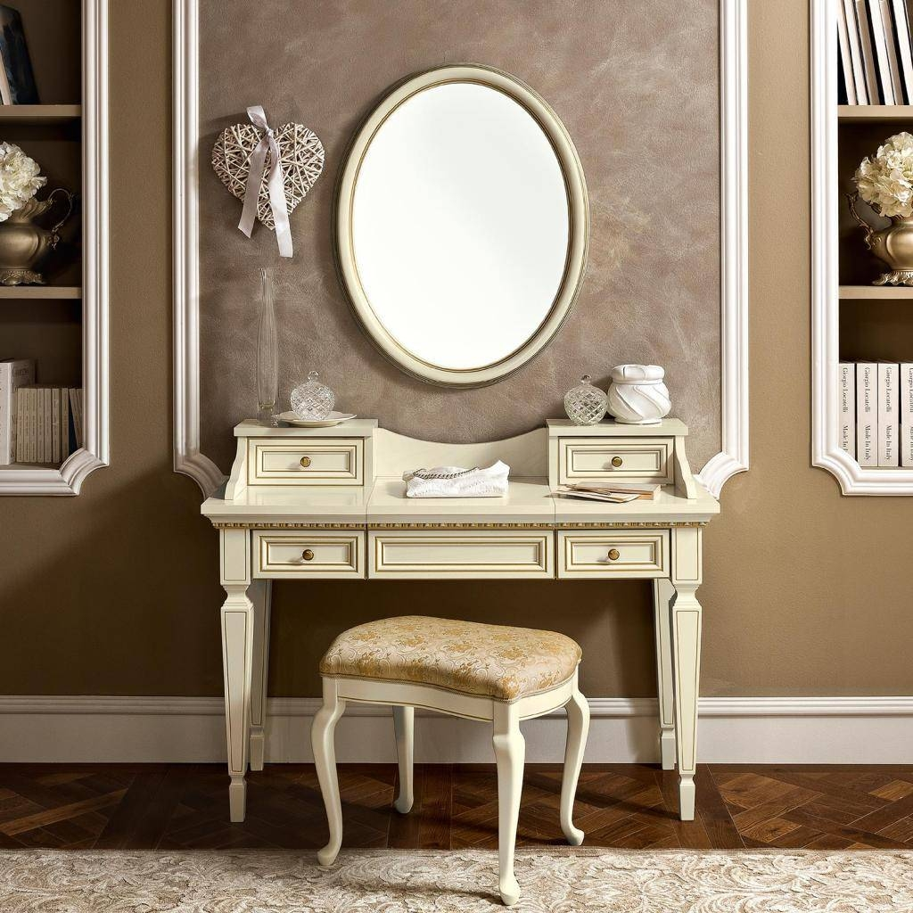 Treviso Ornate Ivory Ash Wood 4 Drawer Dressing Table Mirror pertaining to Ornate Dressing Table Mirrors (Image 13 of 15)