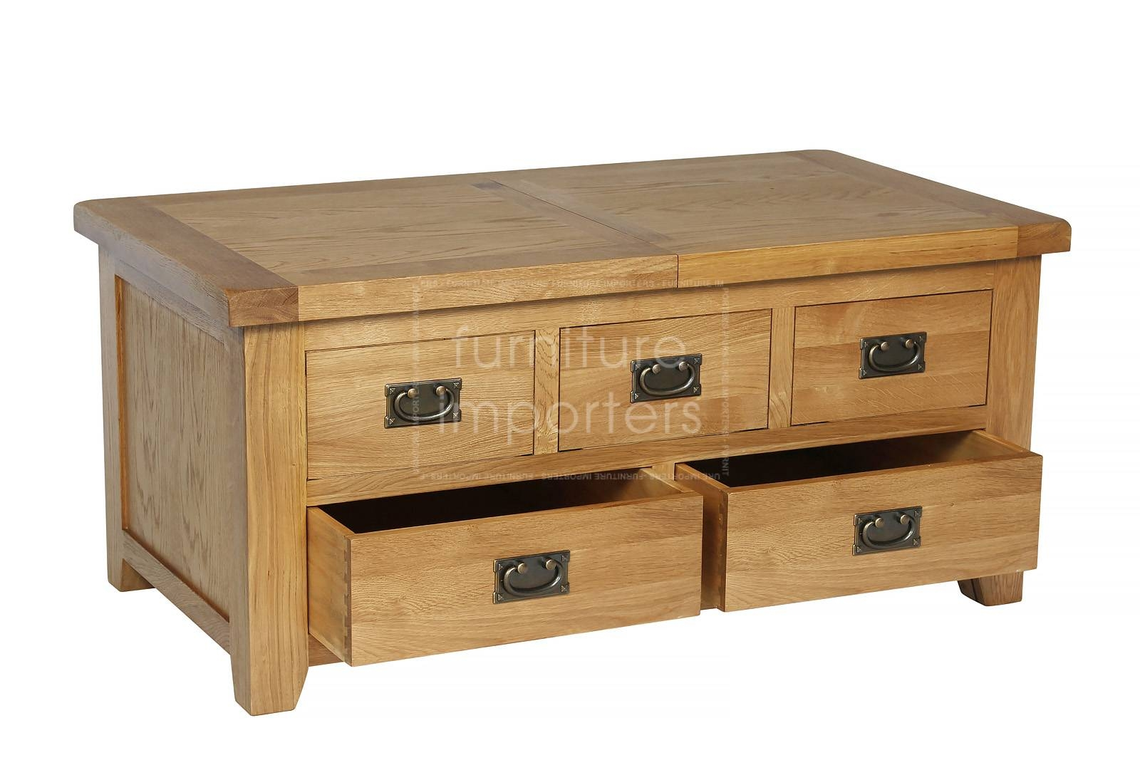 Trewick Oak Storage Unit | Trewick Oak Range | Furniture Importers inside Oak Coffee Tables With Storage (Image 14 of 15)