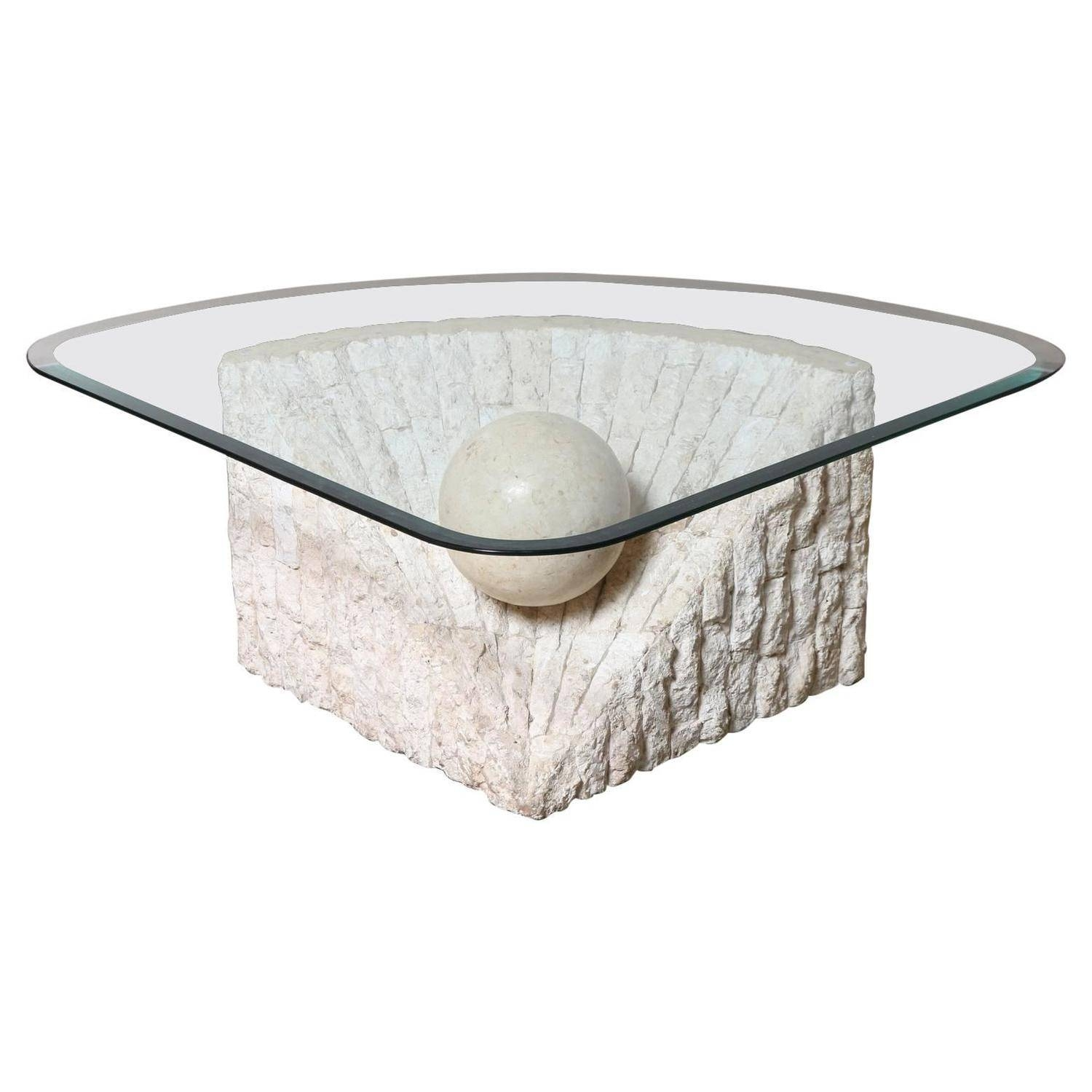 Triangular Marble And Travertine Coffee Table With Beveled Edge Throughout Stone And Glass Coffee Tables (View 5 of 15)