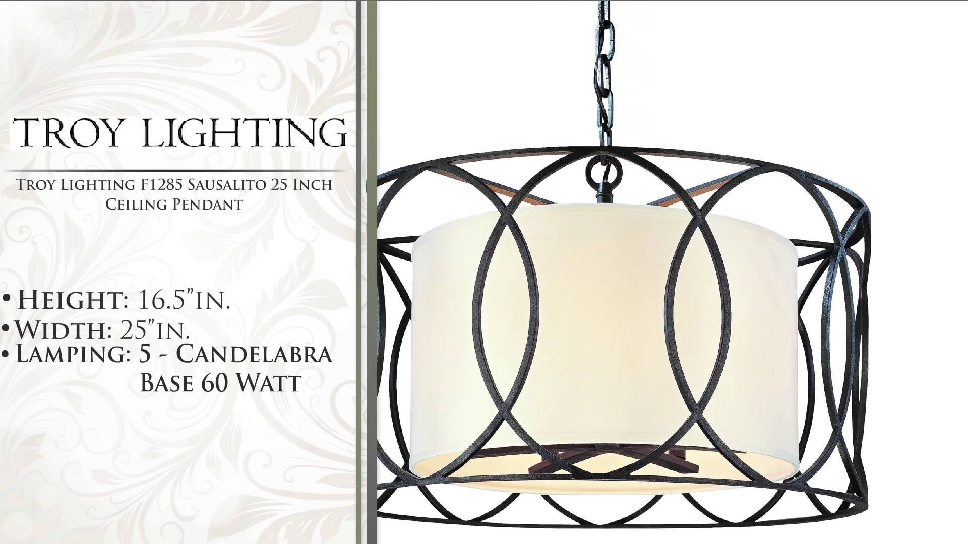 Troy Lighting F1285 Sausalito 25 Inch Ceiling Pendant – Youtube Inside Sausalito Pendant Lights (View 9 of 15)