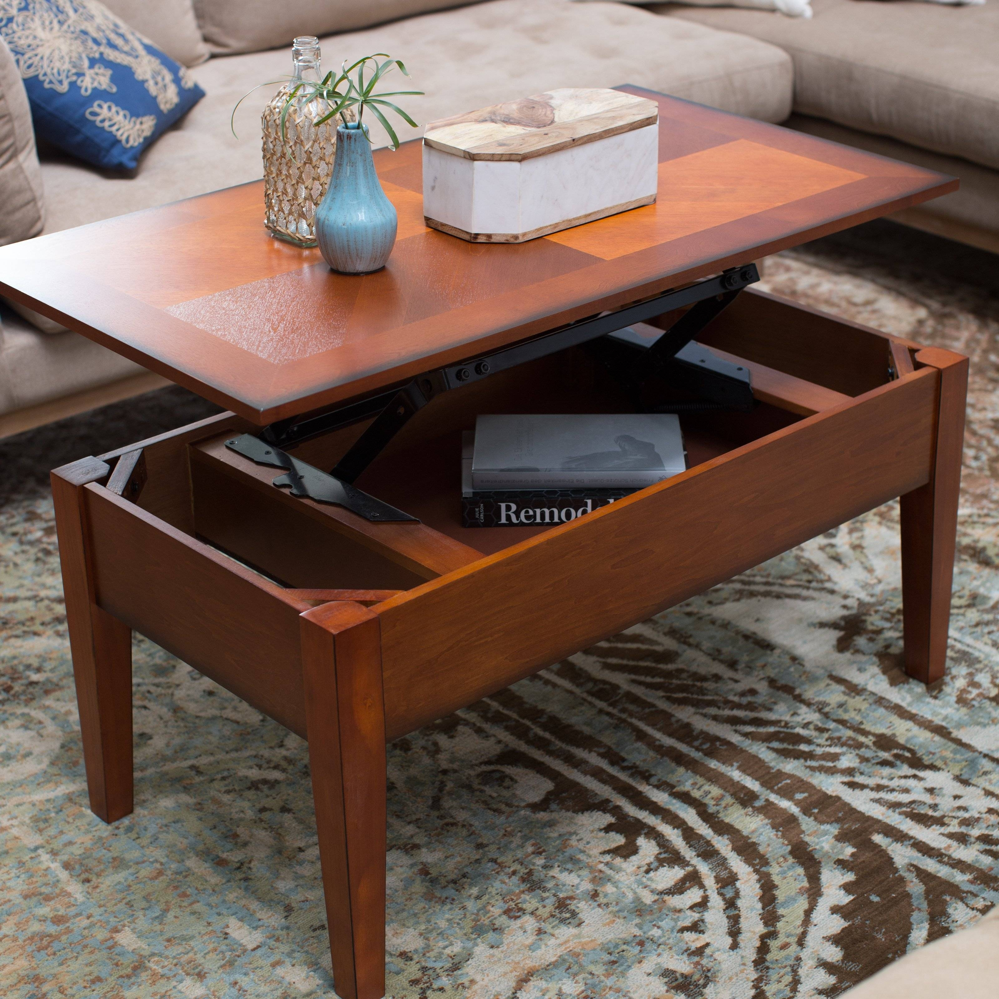 Turner Lift Top Coffee Table - Oak | Hayneedle regarding Oak Coffee Table With Storage (Image 15 of 15)