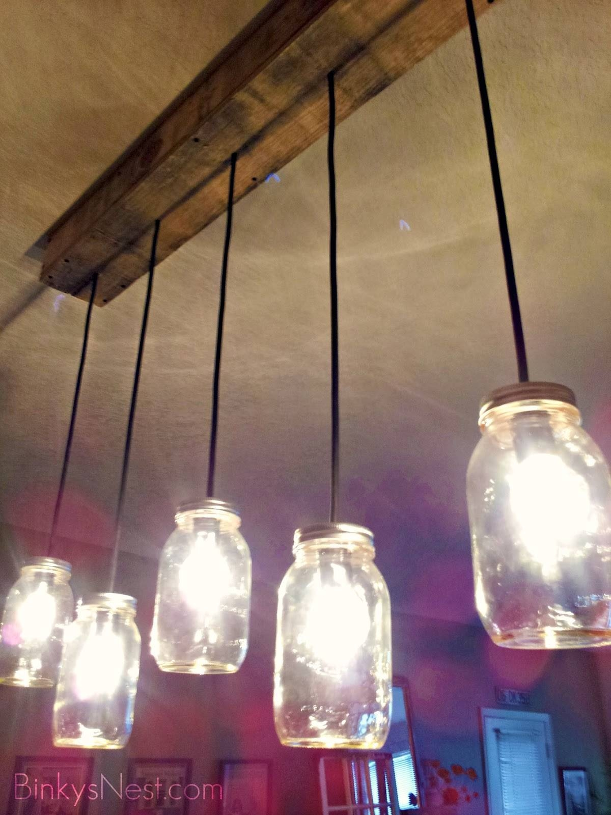 Twenty8Divine: Mason Jar & Rustic Pallet Light Fixture Diy In Mason Jar Pendant Lights For Sale (View 3 of 15)