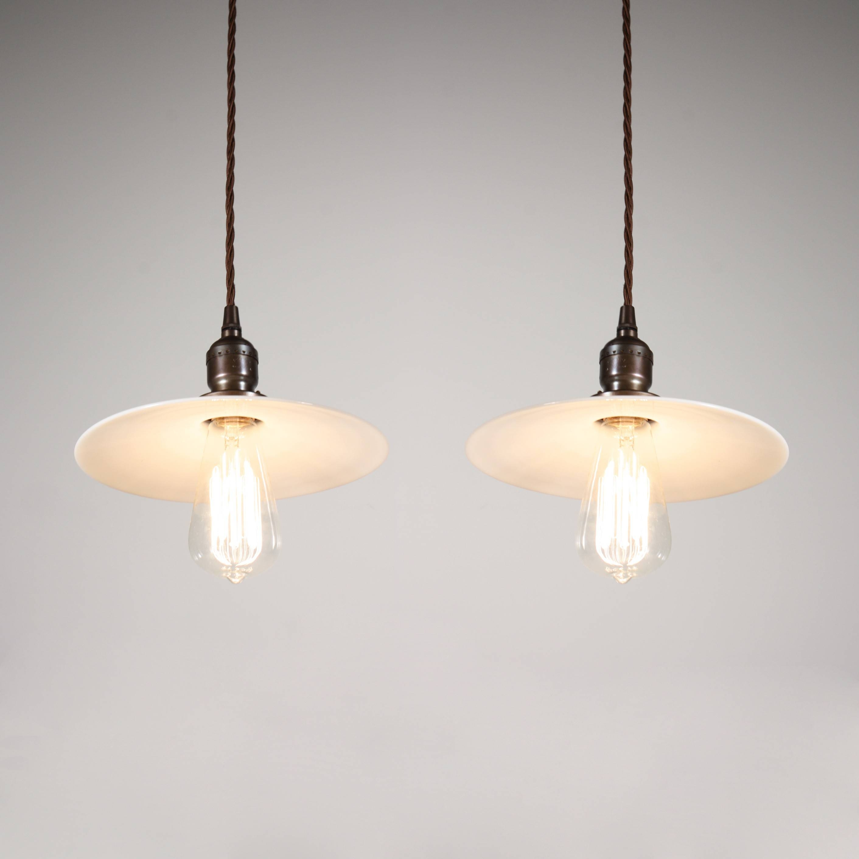 Two Matching Antique Industrial Pendant Lights With Milk Glass Throughout Milk Glass Pendant Lights (View 5 of 15)