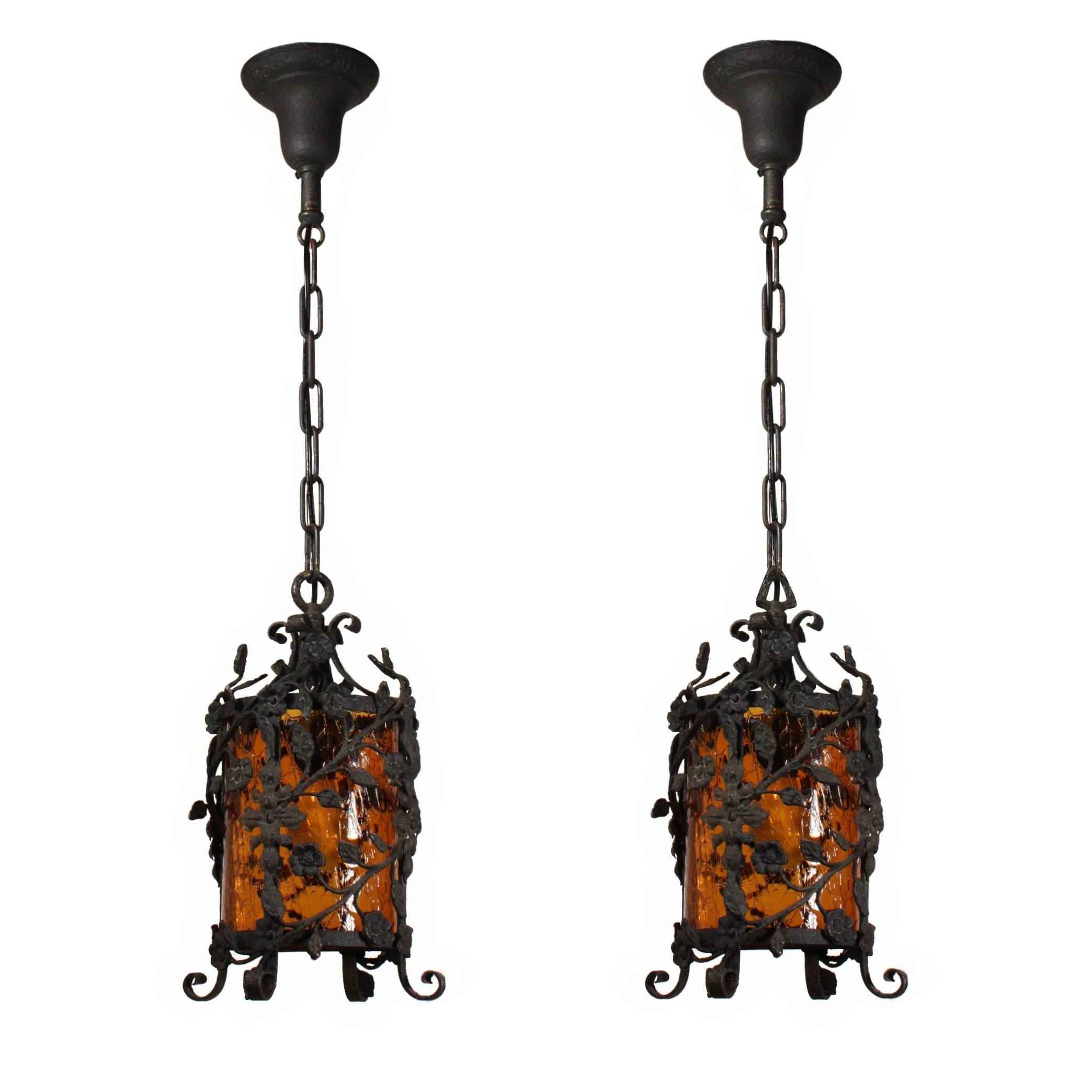 Two Matching Antique Iron Pendant Lights With Original Crackled Within Crackle Glass Pendant Lights (View 15 of 15)