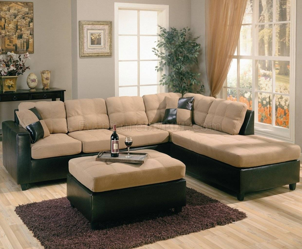 Two-Tone Tan Microfiber & Dark Brown Faux Leather Sectional Sofa in Chocolate Brown Microfiber Sectional Sofas (Image 14 of 15)