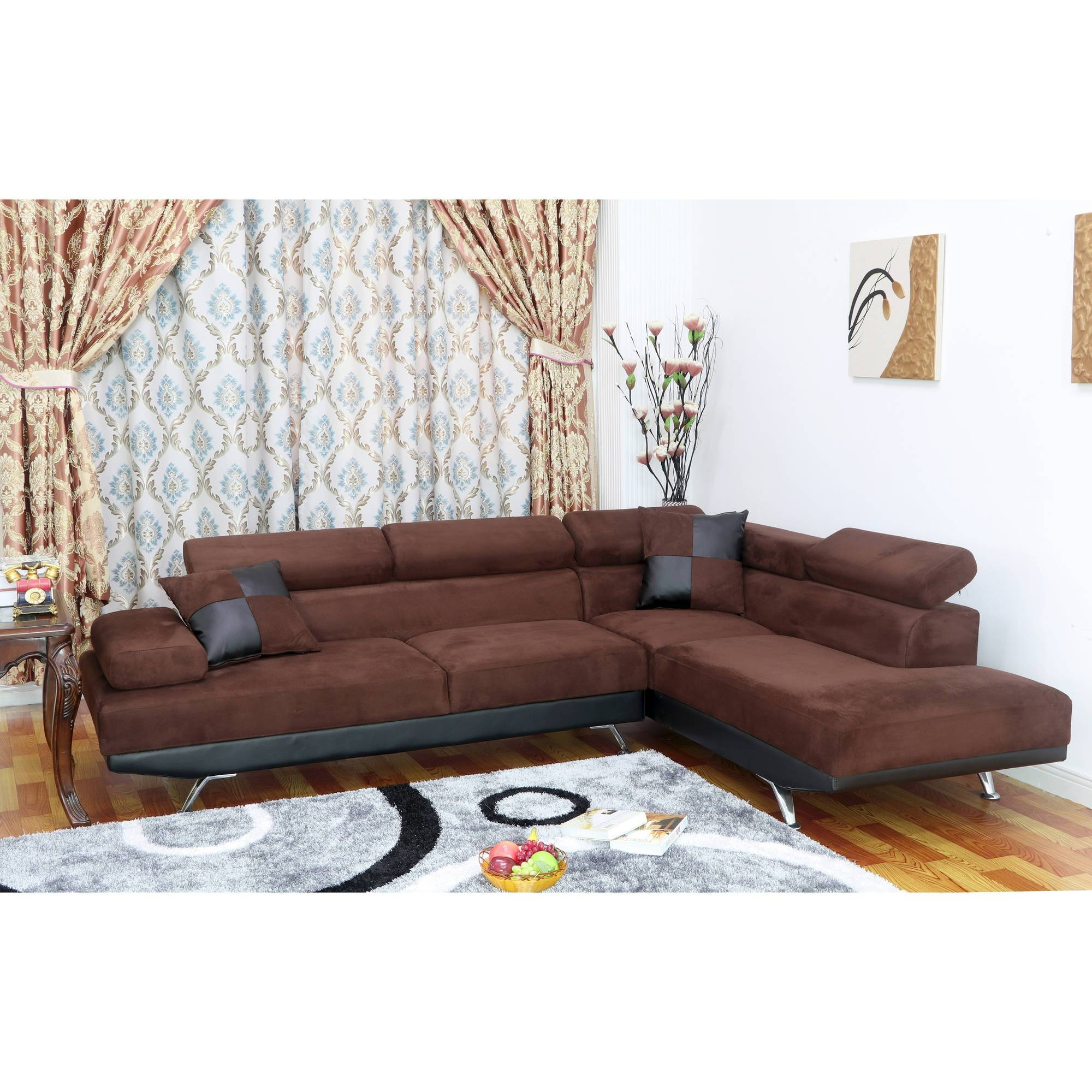 Ufe Sofia 2-Piece Microfiber Modern Right Facing Chaise Sectional within Chocolate Brown Microfiber Sectional Sofas (Image 15 of 15)