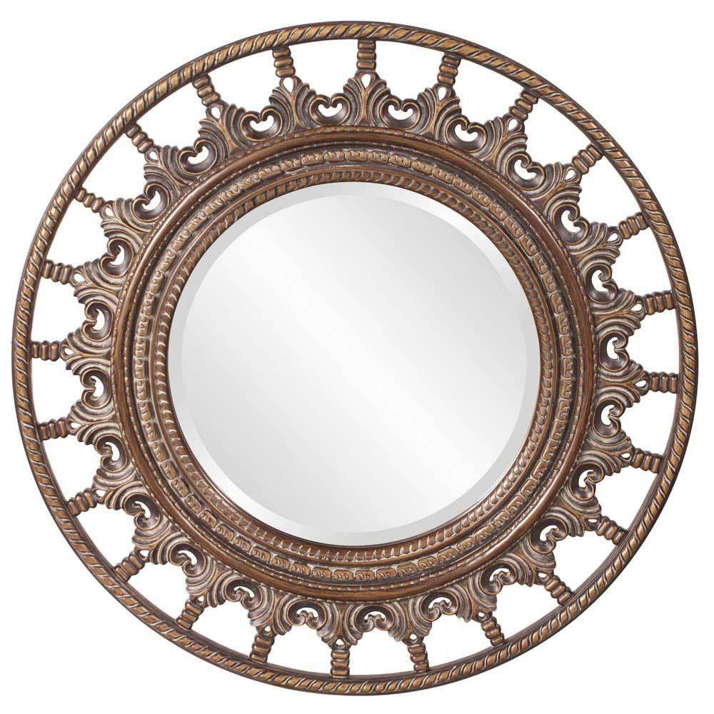 Unique Round Mirror With Antique Accents Hre 077 | Accent Mirrors in Unique Round Mirrors (Image 15 of 15)