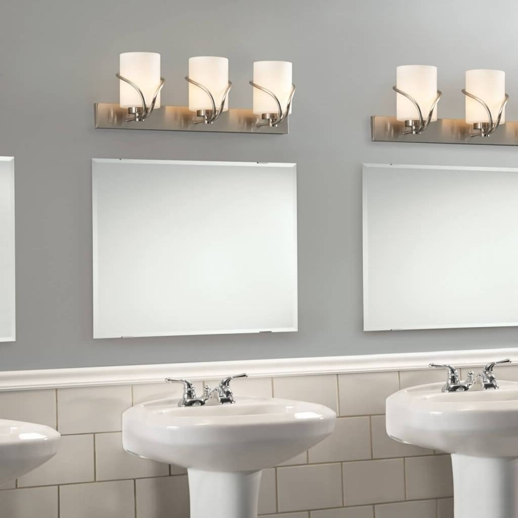 Unique Vanity Lights And Frameless Mirror For Vintage Bathroom with regard to Vintage Frameless Mirrors (Image 12 of 15)