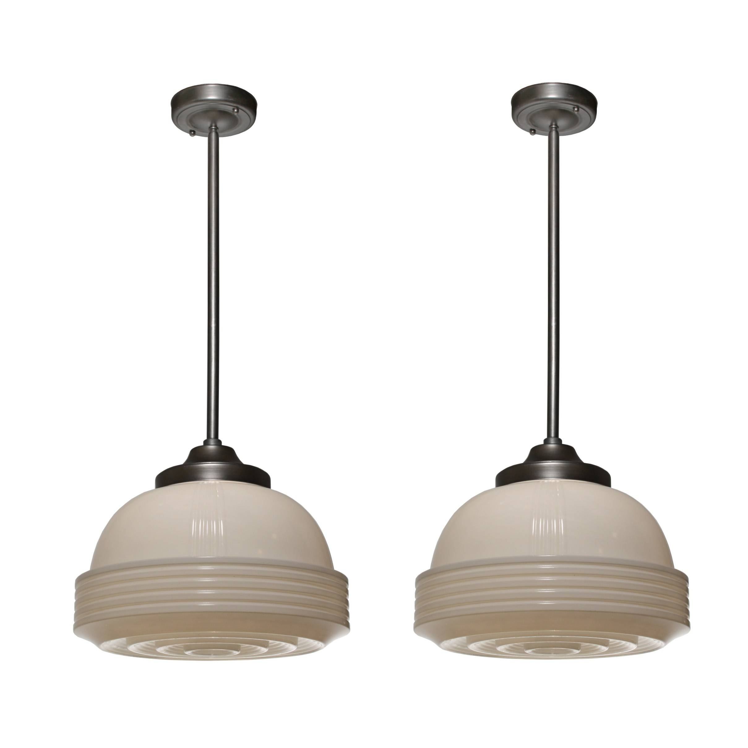 Unusual Antique Art Deco Pendant Lights With Glass Shades, 1930's inside Art Glass Pendant Lights Shades (Image 15 of 15)
