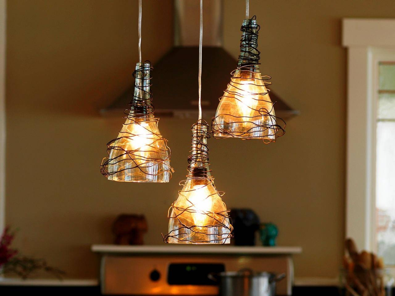 Upcycle Wine Bottle Into Pendant Light Fixtures | How-Tos | Diy with Diy Multi Pendant Lights (Image 15 of 15)