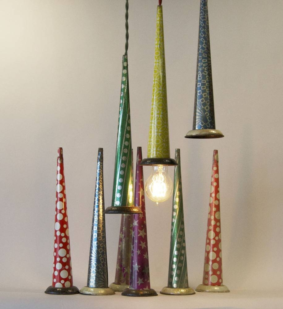 Upcycled Pendant Lights Made From Vintage Tin Party Horns - Retro with Tin Pendant Lights (Image 15 of 15)