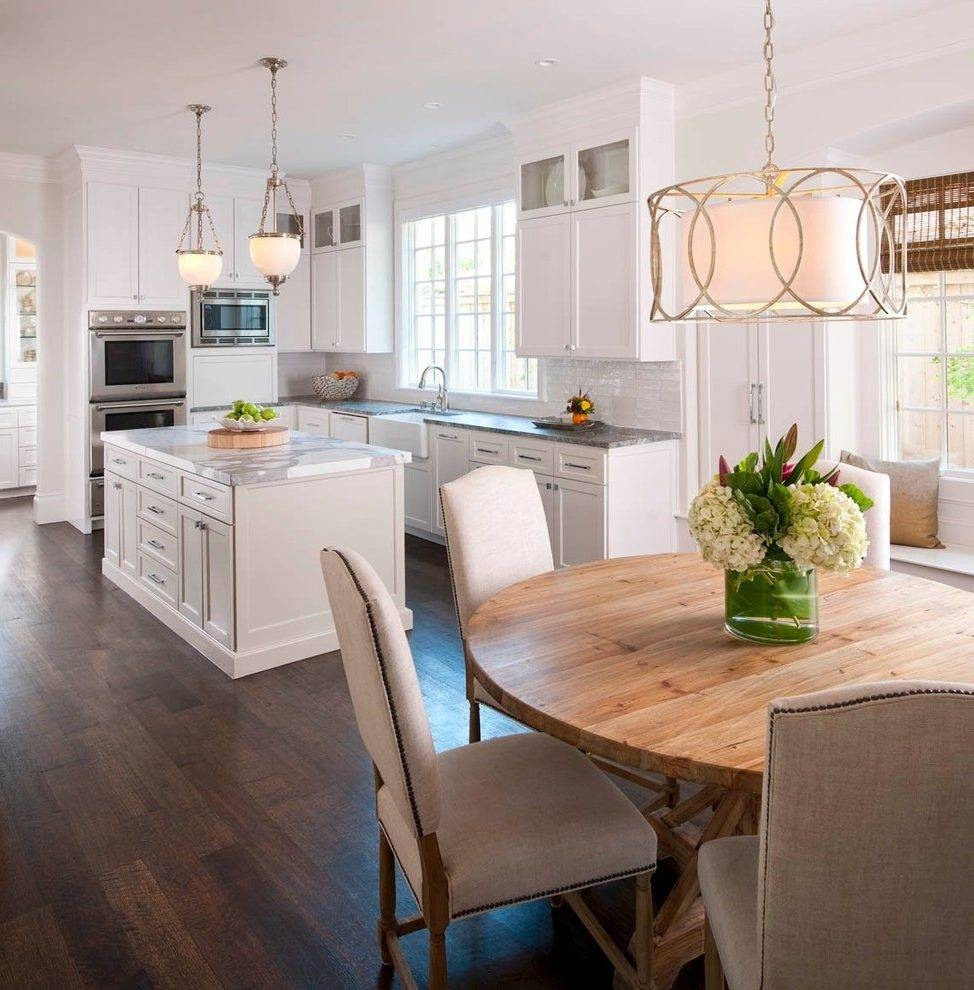 Upholstered Kitchen Chairs Kitchen Traditional With Restoration Within Troy Sausalito Pendants (View 11 of 15)