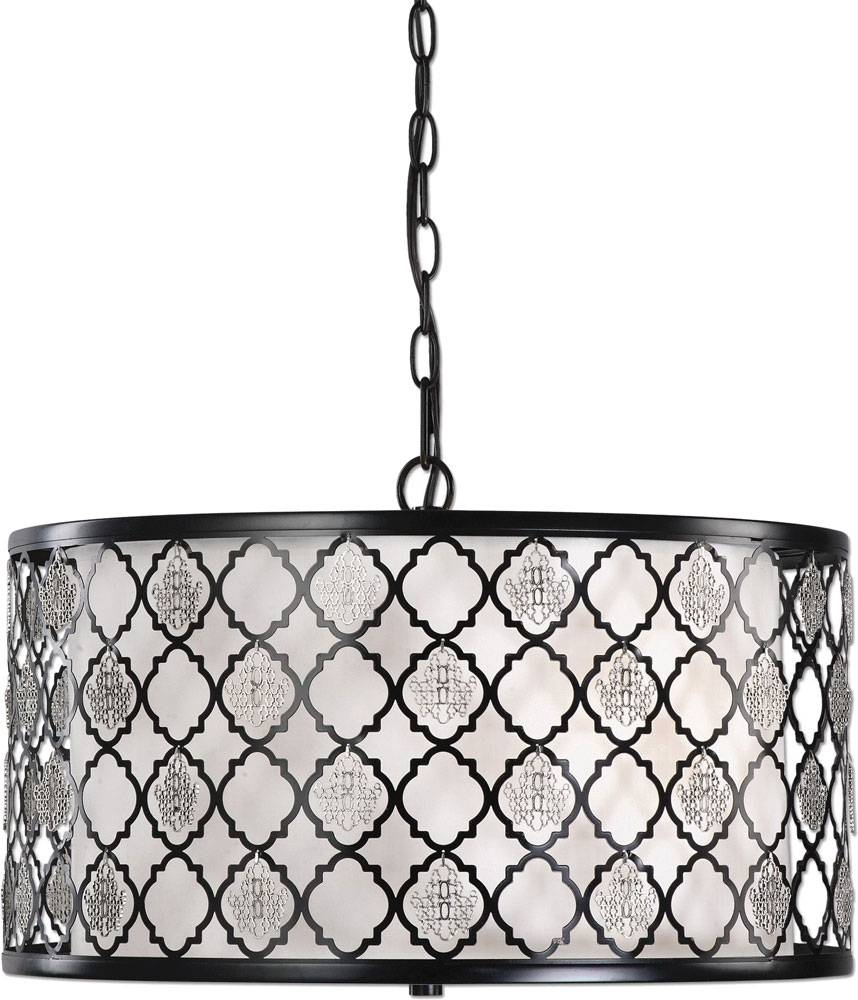 Uttermost 22062 Filigree Black Drum Pendant Light - Utt-22062 with regard to Black Drum Pendants (Image 15 of 15)