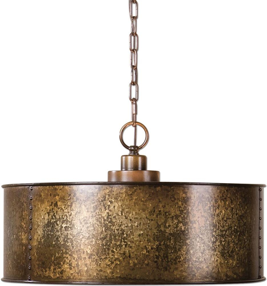 Uttermost 22066 Wolcott Vintage Golden Galvanized Drum Hanging within Uttermost Pendant Lights (Image 10 of 15)