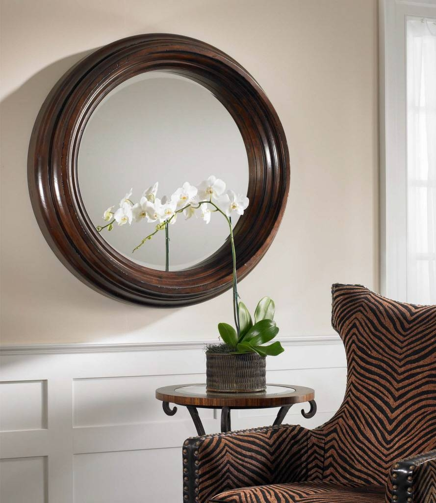 Uttermost Cristiano Round Dark Wood Mirror 01901 B with regard to Large Brown Mirrors (Image 15 of 15)