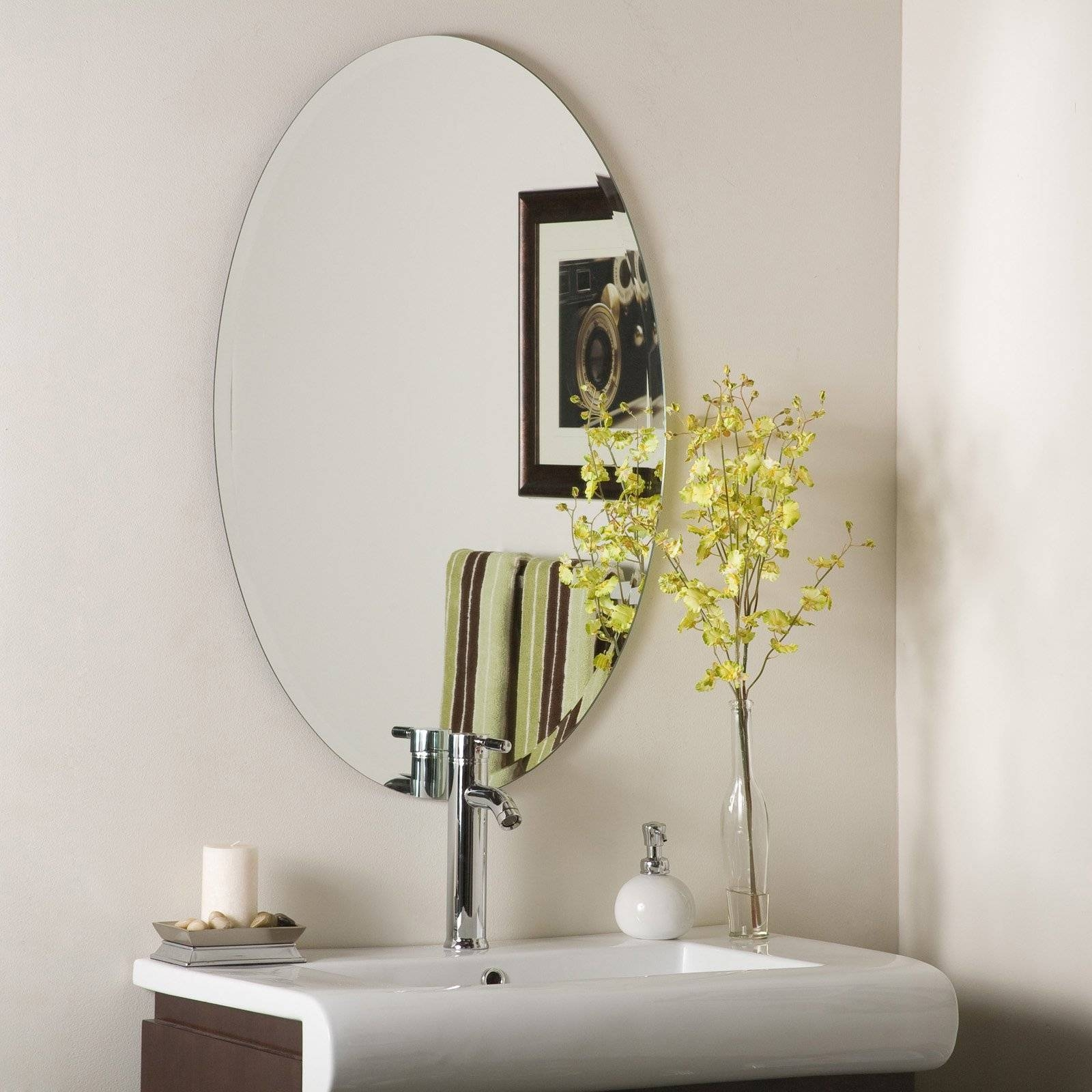 Uttermost Frameless Oval Beveled Vanity Mirror | Hayneedle in Frameless Wall Mirrors (Image 15 of 15)