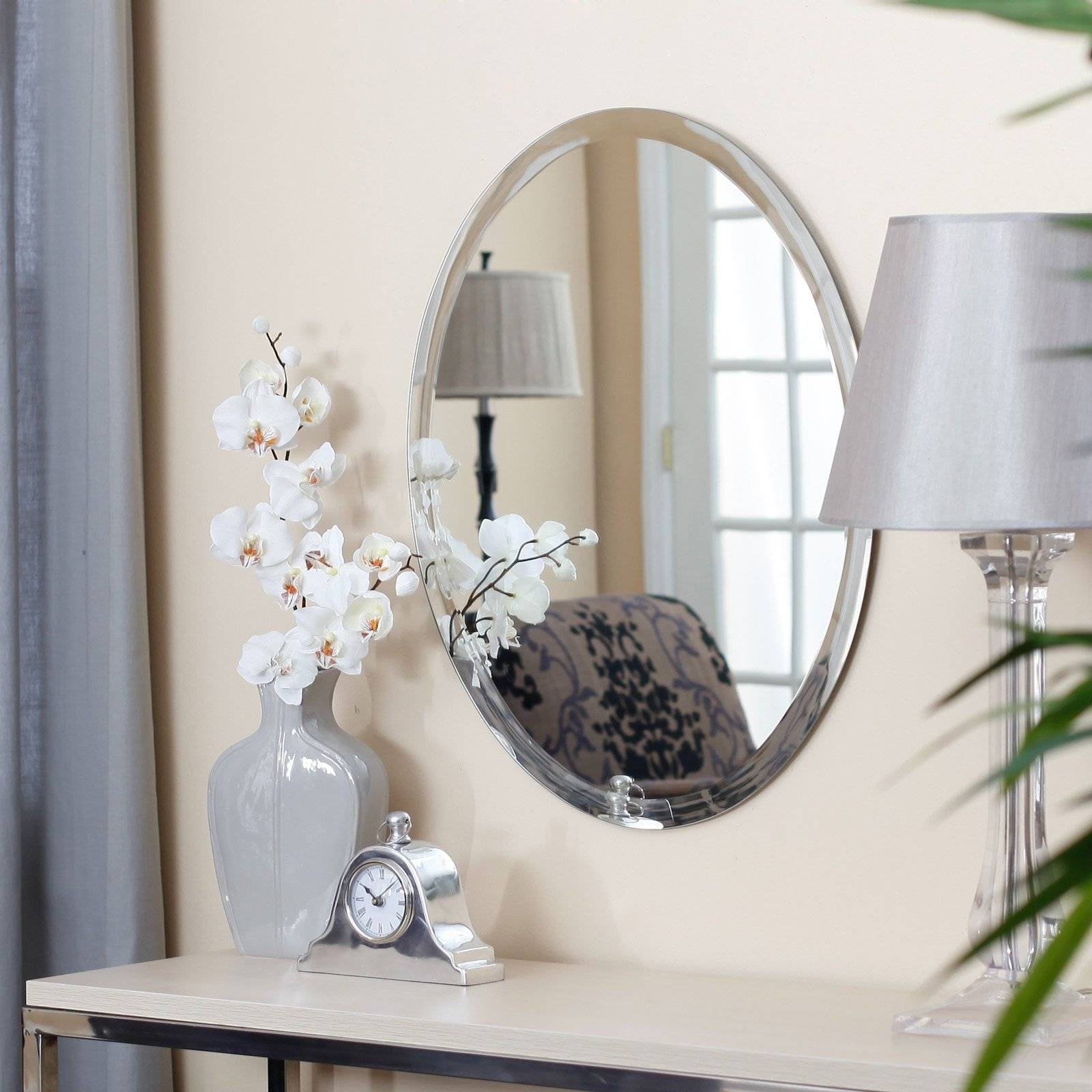 Uttermost Frameless Oval Beveled Vanity Mirror | Hayneedle throughout Large Oval Wall Mirrors (Image 15 of 15)