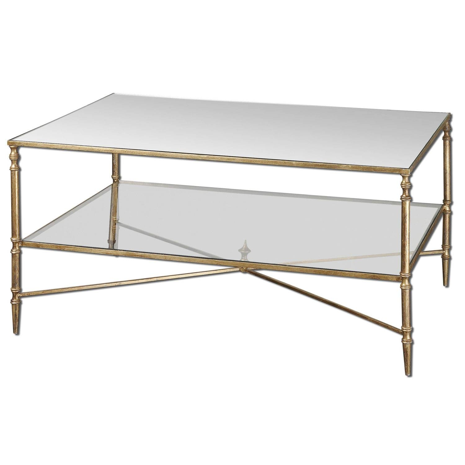 Uttermost Gold Henzler Coffee Table On Sale inside Mirror Glass Coffee Table (Image 13 of 15)