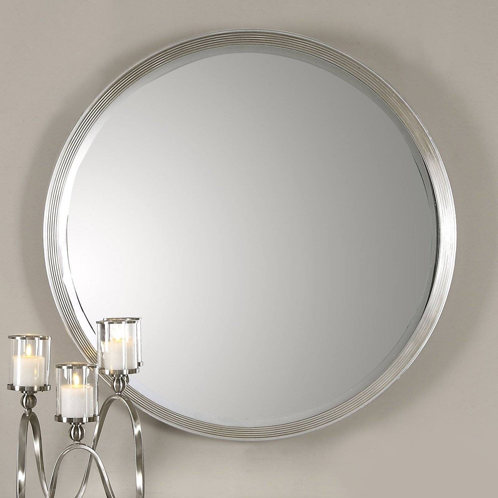 Uttermost Stefania Beaded Round Mirror | Hayneedle regarding Round Silver Mirrors (Image 15 of 15)