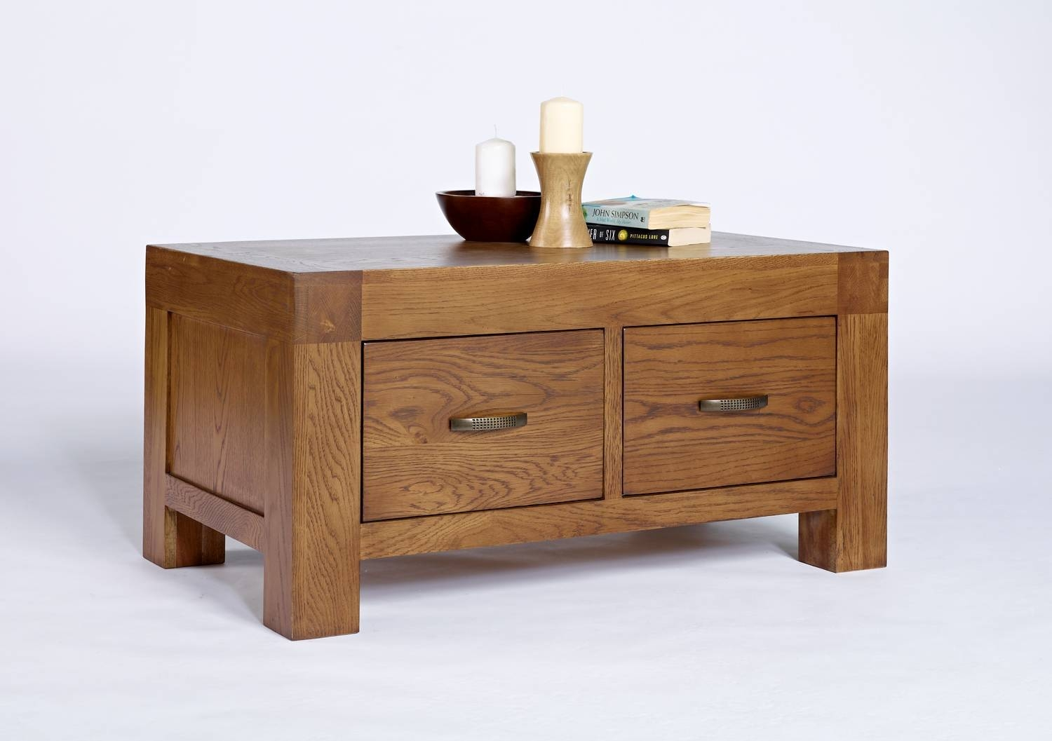 Valencia Rustic Oak Two Drawer Coffee Table | Hampshire Furniture in Oak Coffee Tables With Storage (Image 15 of 15)