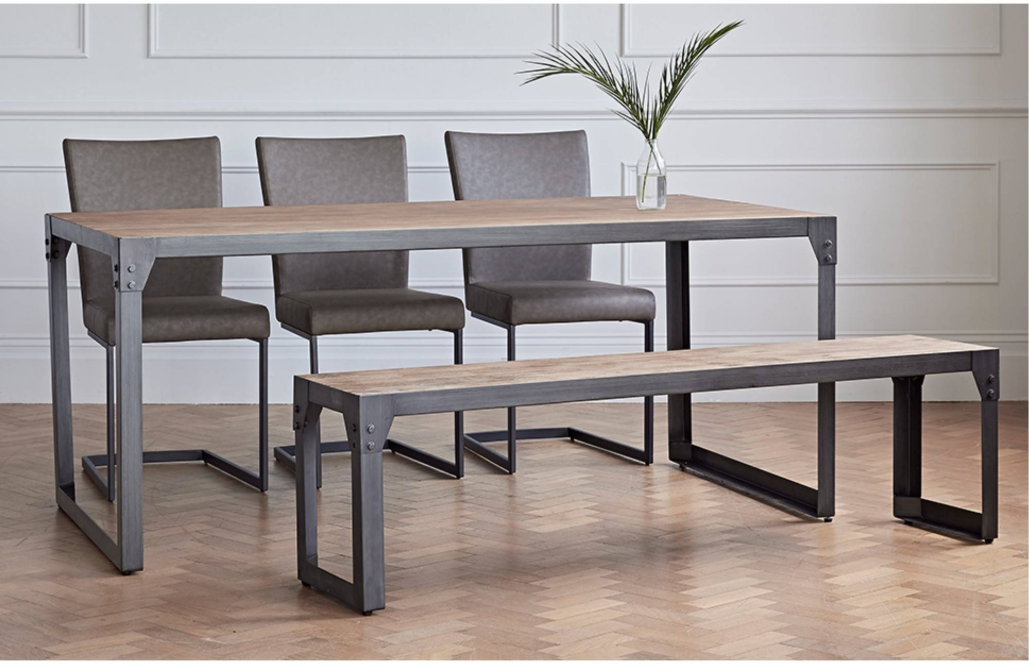 Varna Dining Set With 1 Bench And 3 Chairs for Dining Sofa Chairs (Image 13 of 15)