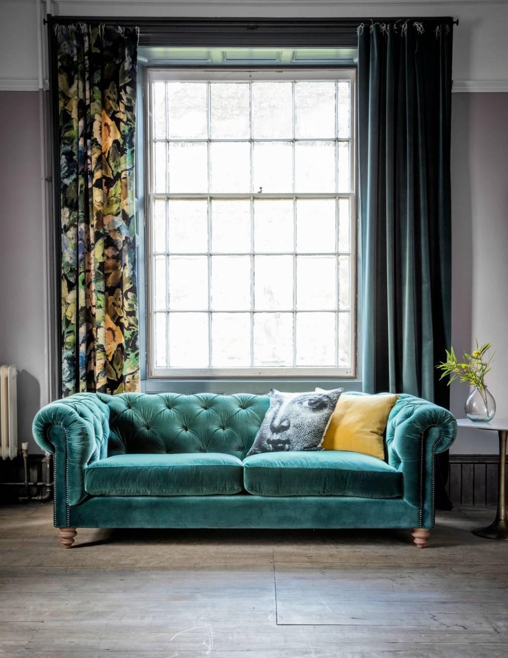 Velvet Chesterfield Sofarose U0026amp; Grey With Emerald Green Sofas (Photo ...