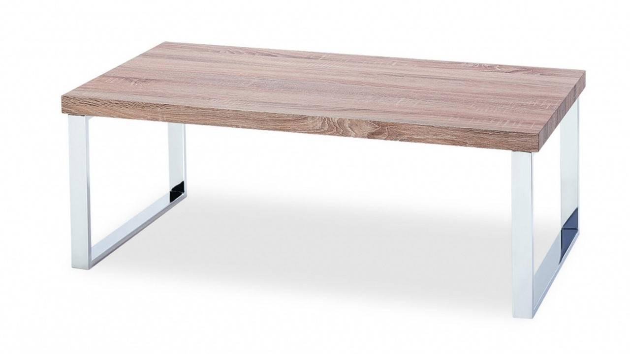 Veneer Coffee Table With Stainless Steel Legs – Homegenies With Oak Veneer Coffee Tables (View 2 of 15)