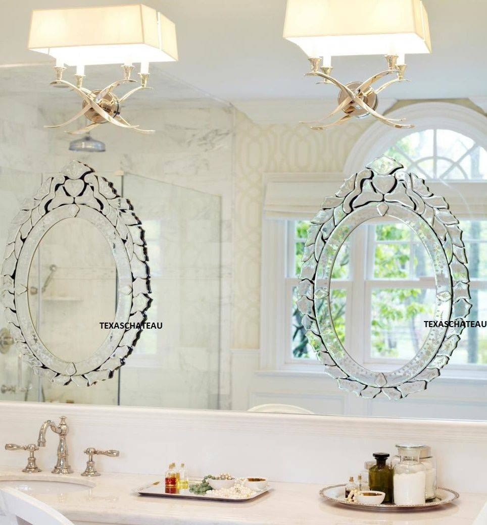 Venetian Oval Wall Mirror Vanity Bathroom French Antique Vintage Throughout Antique Mirrors For Bathrooms (View 12 of 15)