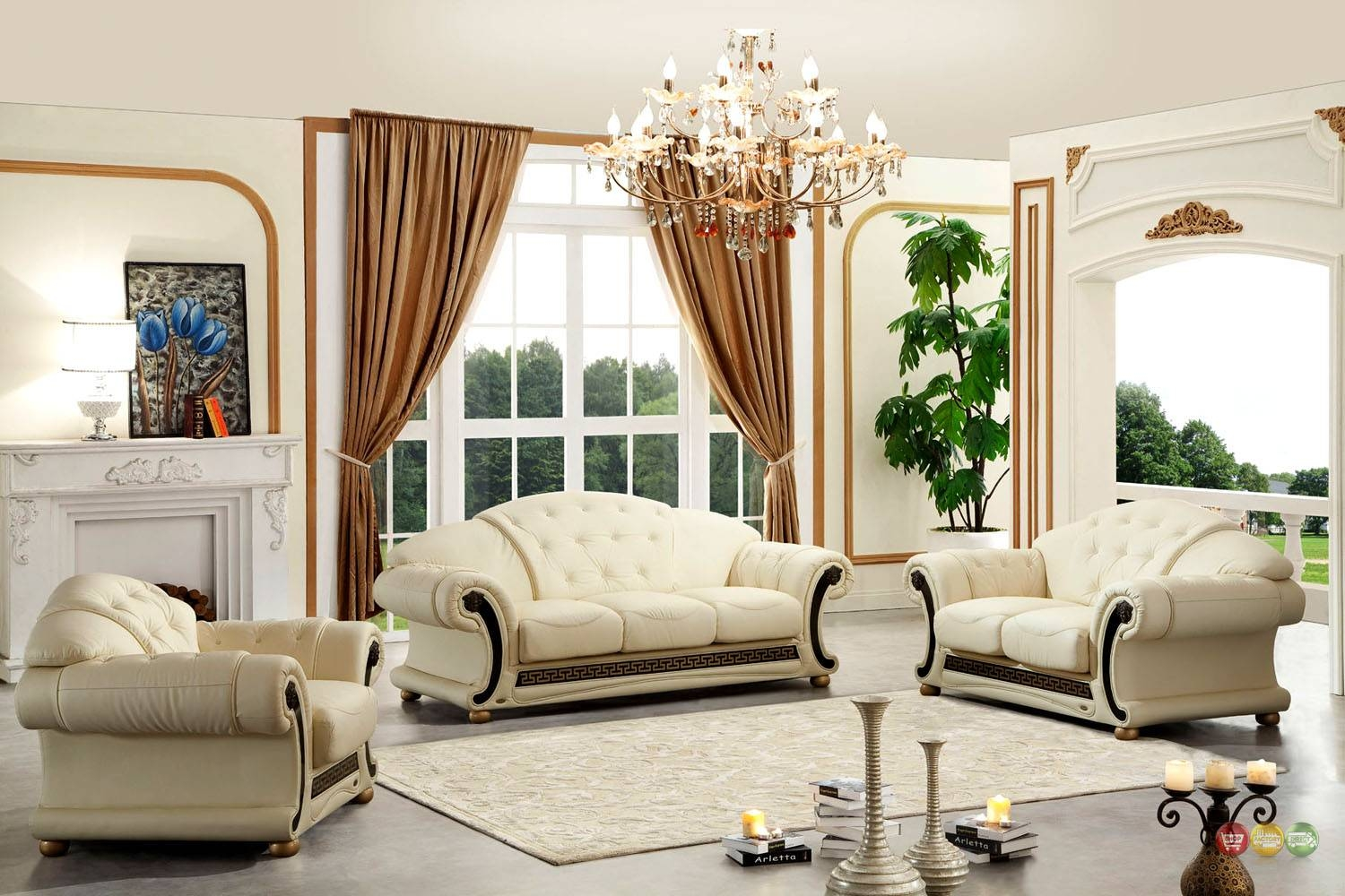 Versace Cleopatra Cream Italian Leather Living Room Sofa Loveseat Pertaining To Cleopatra Sofas (View 15 of 15)