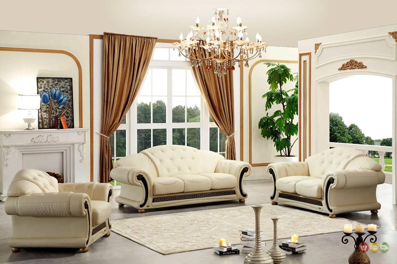 Versace Cleopatra Cream Italian Leather Living Room Sofa Loveseat pertaining to Cleopatra Sofas (Image 15 of 15)