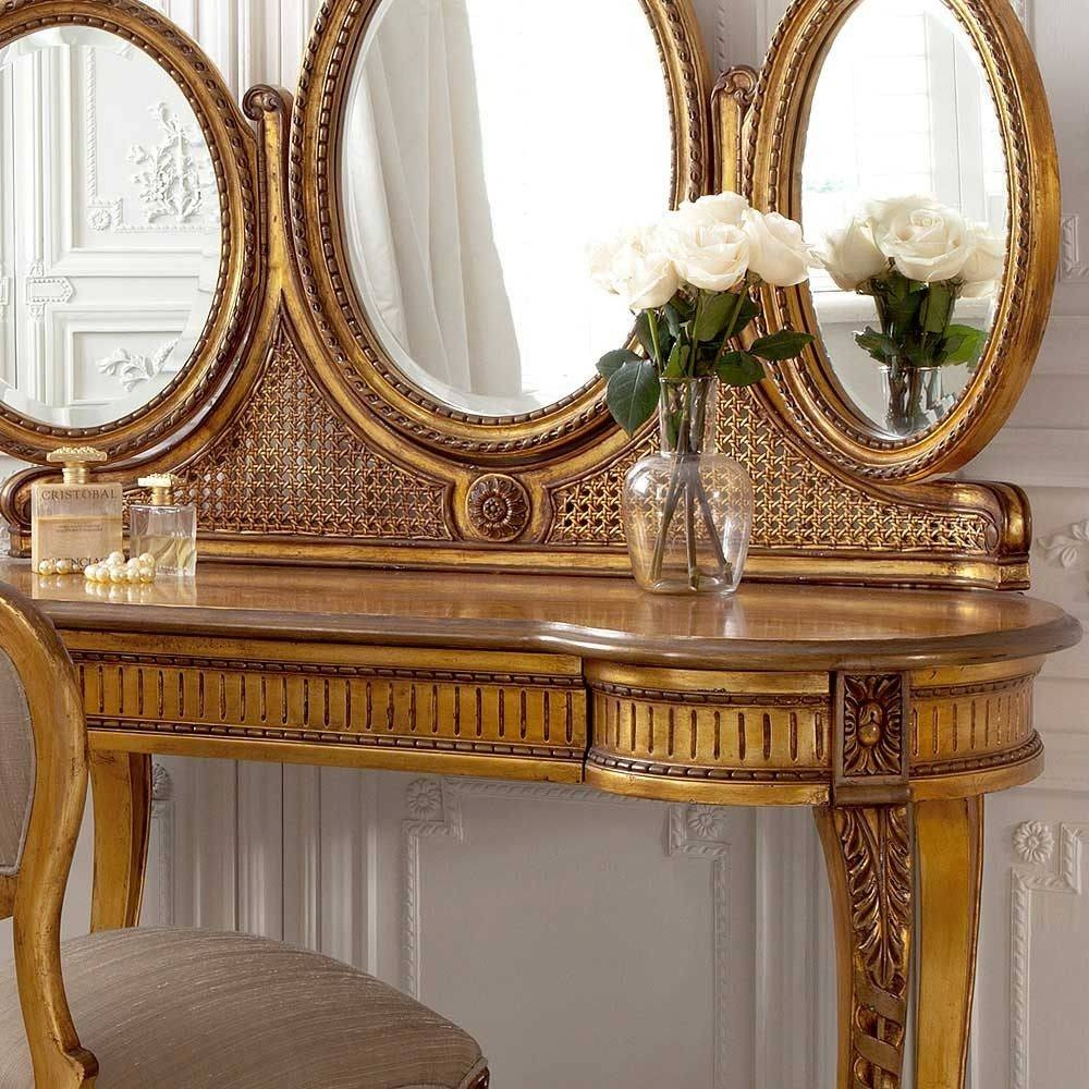 Versailles Gold Gilt Dressing Table | Dressing Table Pertaining To Gold Dressing Table Mirrors (View 13 of 15)