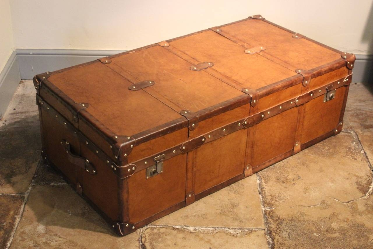 Very Large Bespoke Tan Leather Trunk / Coffee Table - Bespoke pertaining to Very Large Coffee Tables (Image 12 of 15)