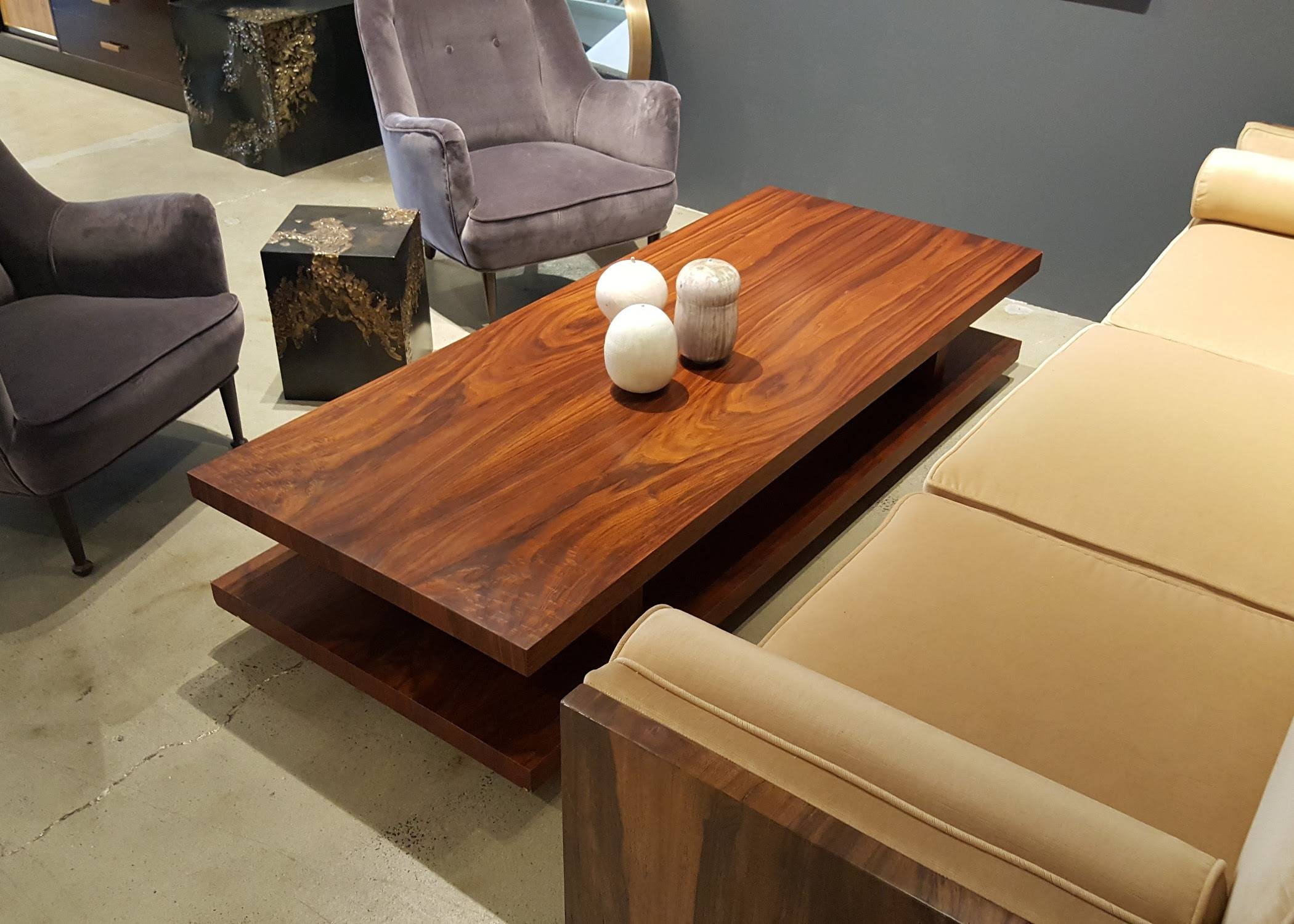 Very Large Rectangular Walnut Coffee Table With Wicked Grain with Very Large Coffee Tables (Image 13 of 15)