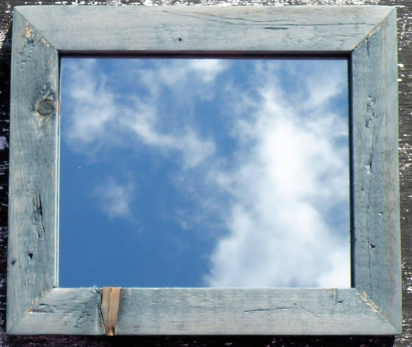 Vintage Blue Farmhouse Mirror Rustic Barn Wood Style Mirror throughout Blue Distressed Mirrors (Image 12 of 15)