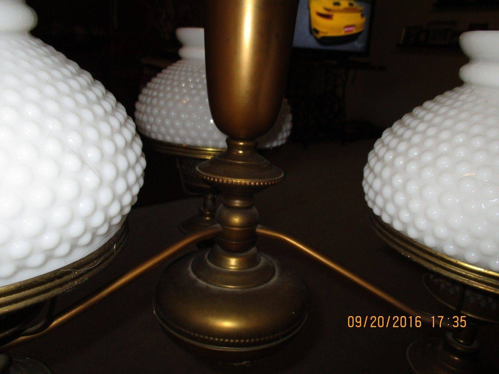 Vintage Ceiling Light Fixture Brass Milk Glass Nob Nail Shades for Milk Glass Lights Fixtures (Image 12 of 15)