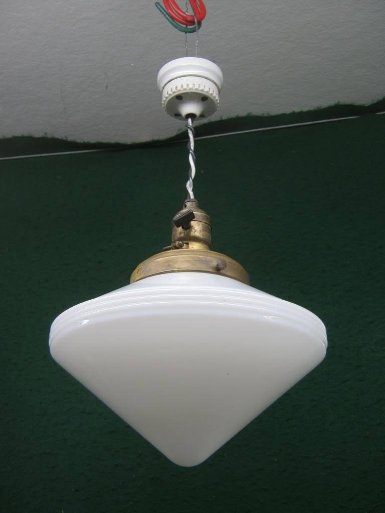 Vintage Ceiling Light Fixture Conical Deco Milk Glass Brass Fitter in Milk Glass Lights Fixtures (Image 13 of 15)