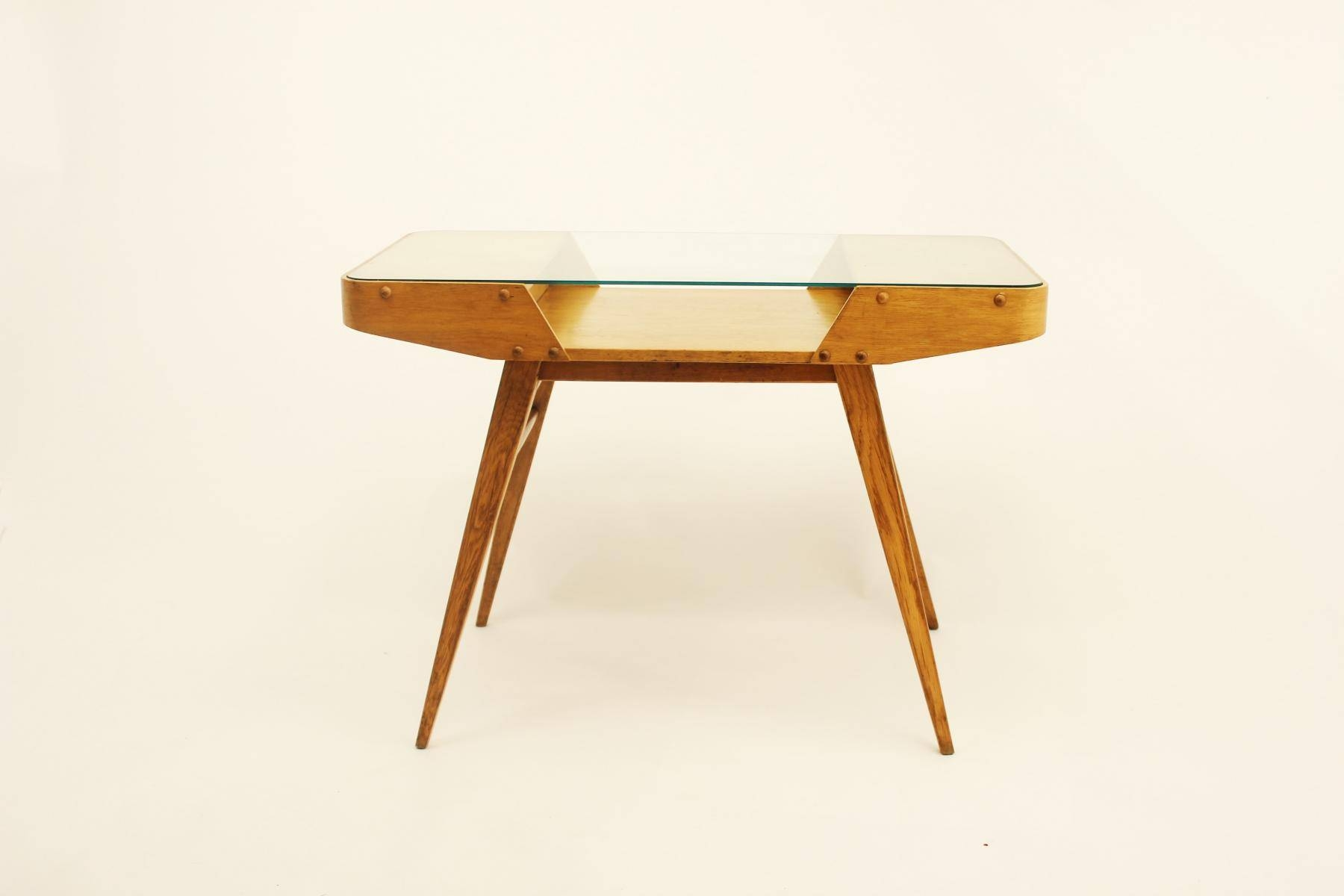 Vintage Czechoslovakian Oak Coffee Table With Glass Top, 1960S For pertaining to Oak Coffee Table With Glass Top (Image 15 of 15)