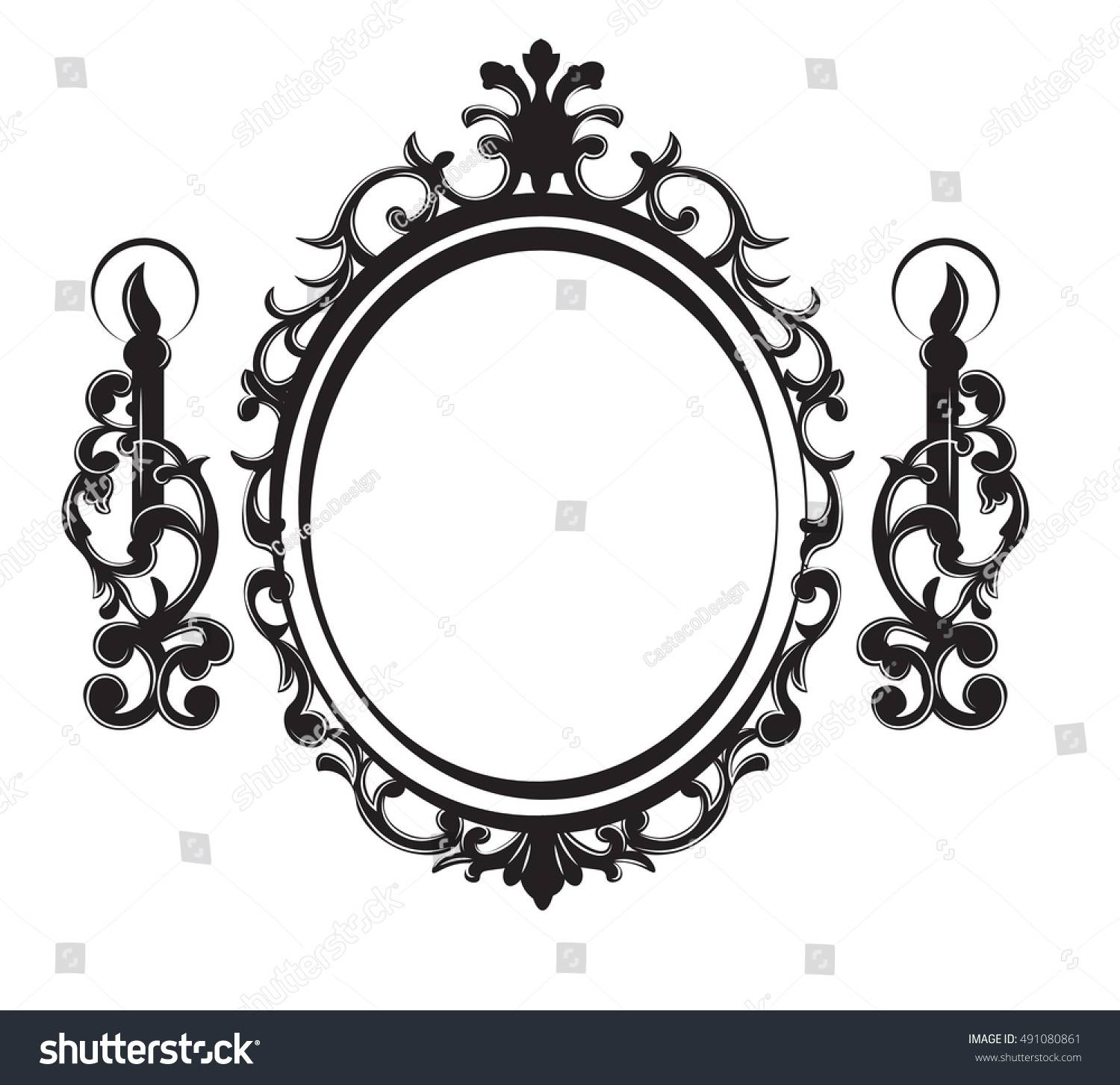 Vintage Frame Lamps Baroque Mirror Vector Stock Vector 491080861 throughout Black Victorian Style Mirrors (Image 13 of 15)