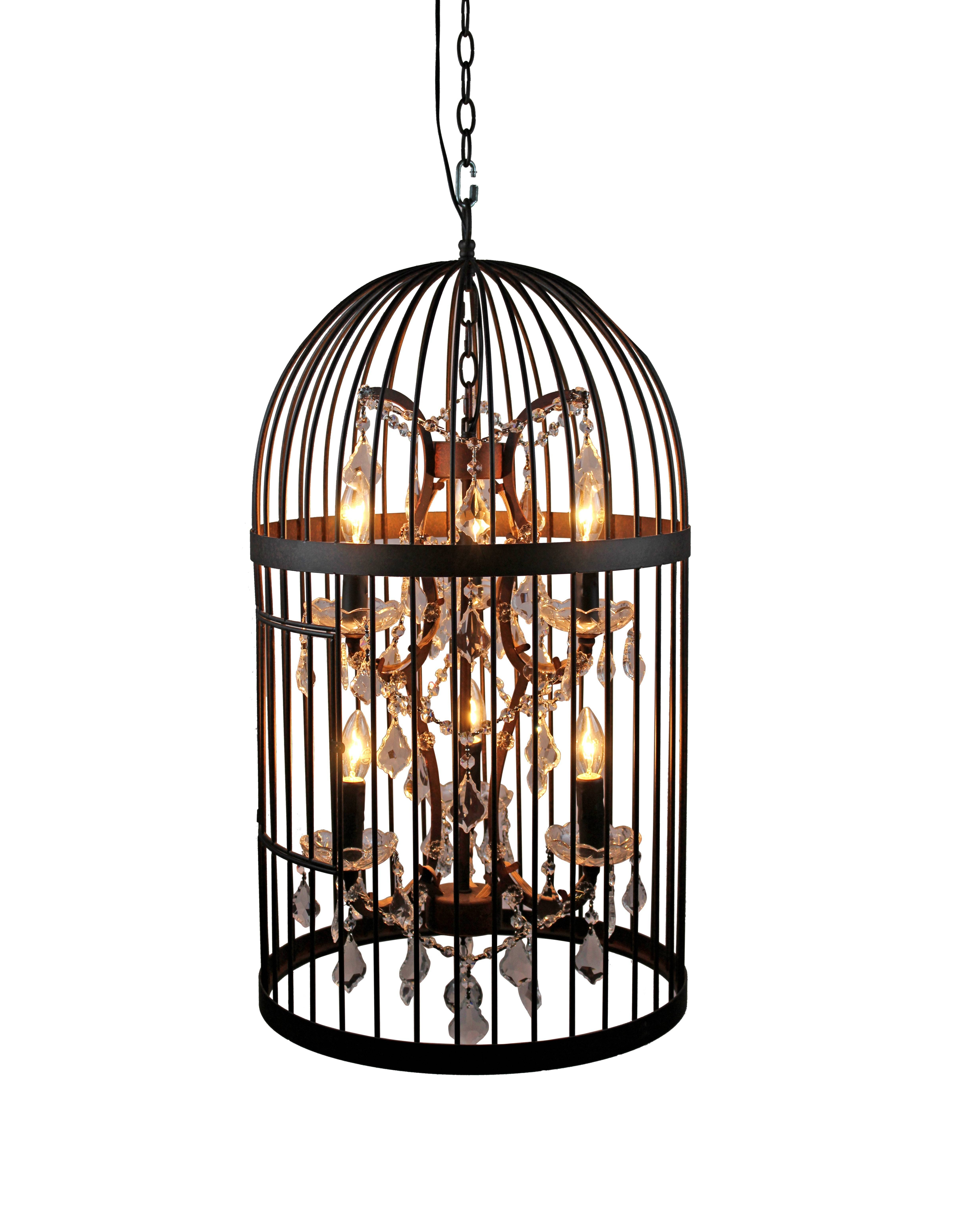 Vintage Industrial Bird Cage Pendant Light With Crystal Ornaments In Birdcage Pendant Lights (View 3 of 15)