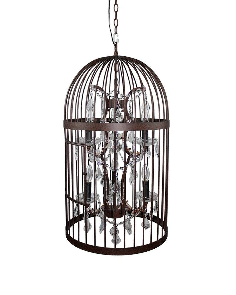 Vintage Industrial Bird Cage Pendant Light With Crystal Ornaments inside Birdcage Pendant Lights Chandeliers (Image 15 of 15)