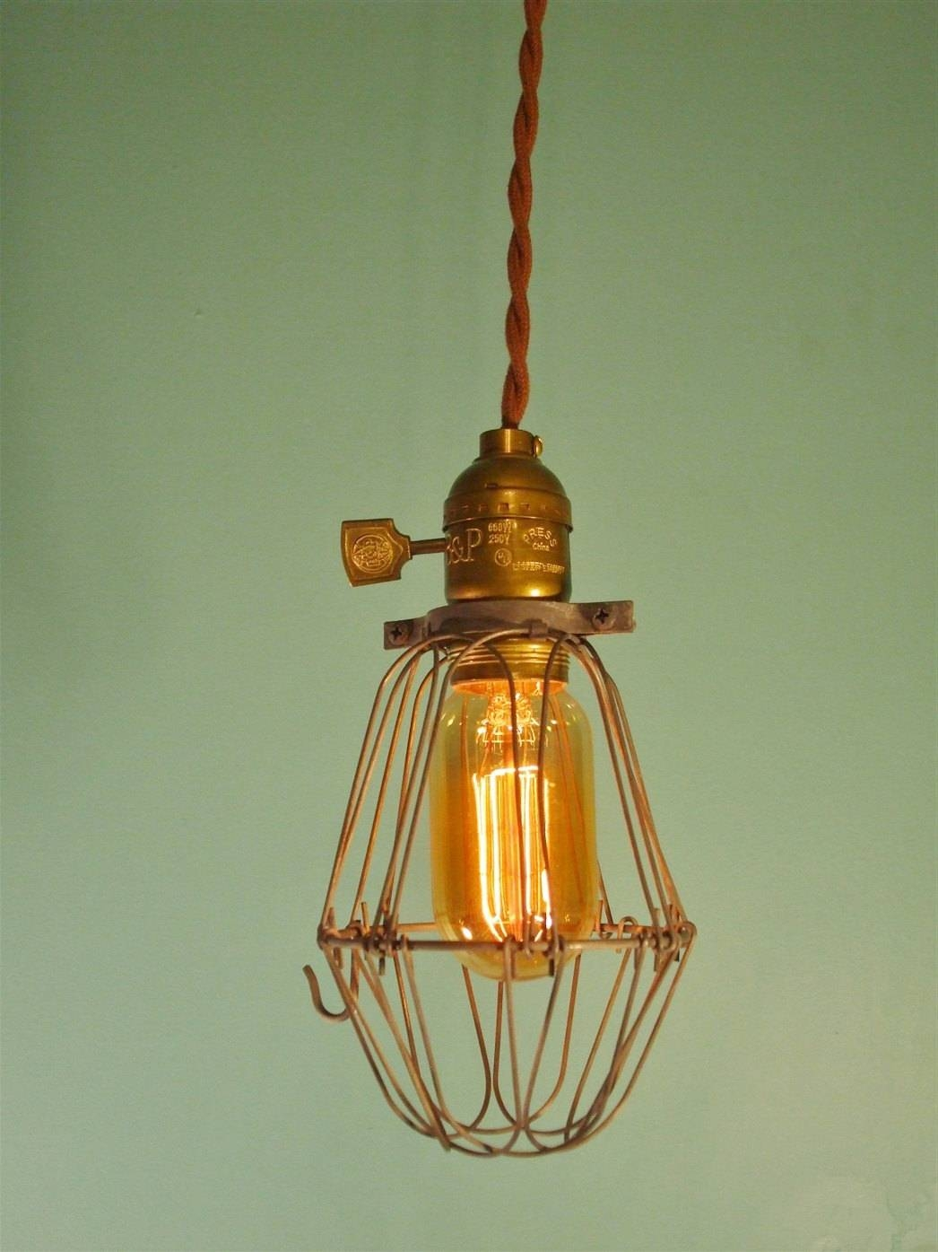 Vintage Industrial Cage Light Pendant Lamp Pendant Light regarding Bare Bulb Pendant Lights Fixtures (Image 14 of 15)