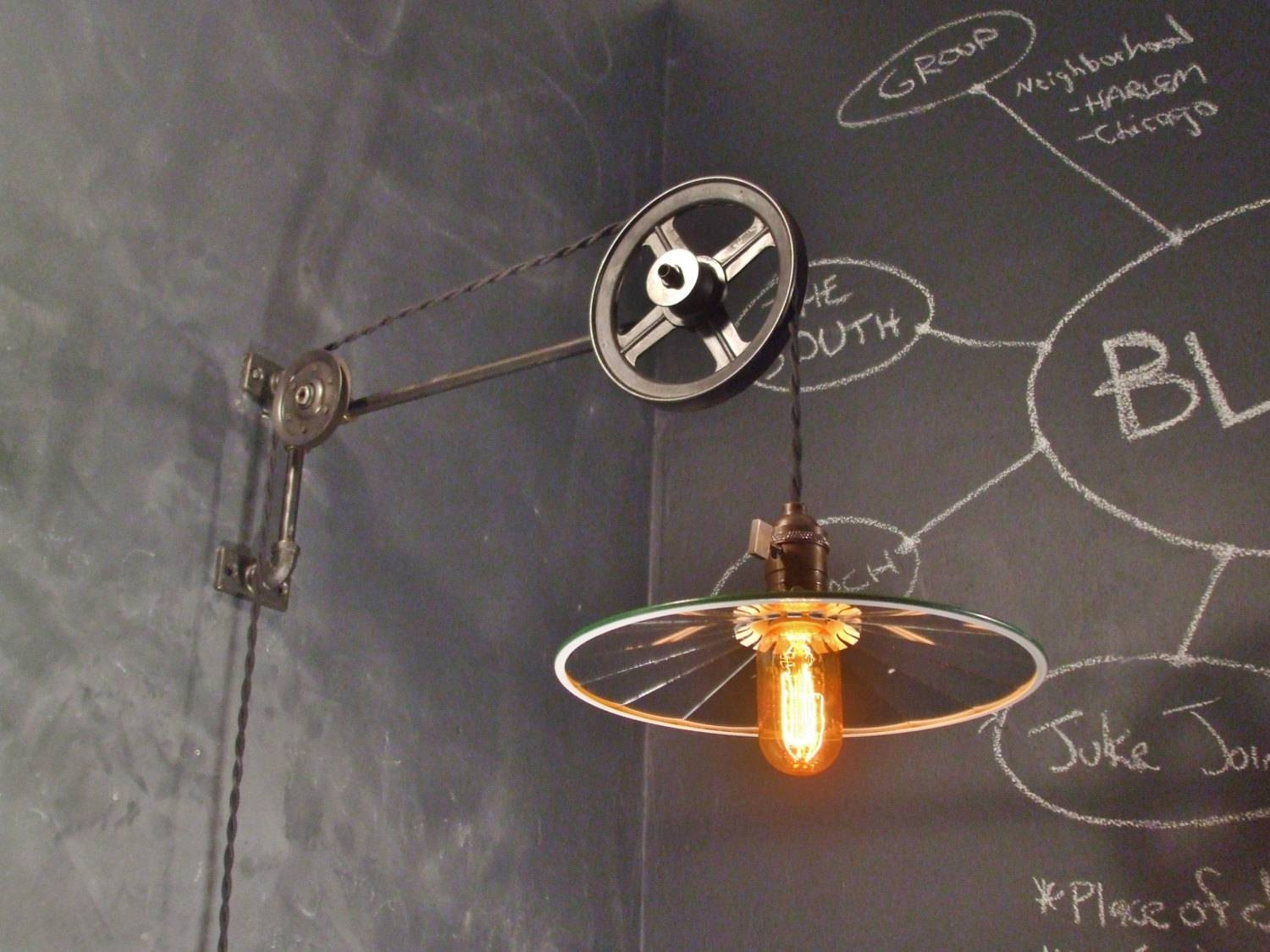 Vintage Industrial Pulley Sconce Mirrored Shade Wall Mount within Pulley Lights Fixture (Image 15 of 15)