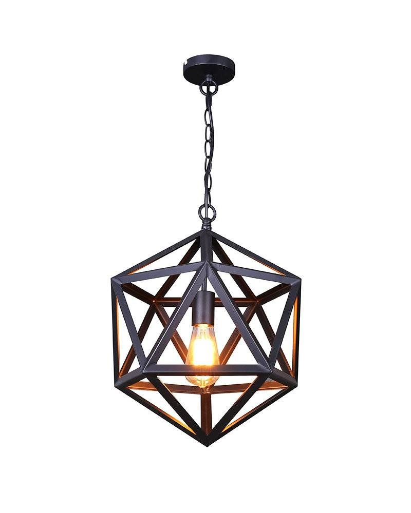 Vintage Industrial Style Matte Black Iron Cage Pendant Light intended for Industrial Style Pendant Lights Fixtures (Image 15 of 15)