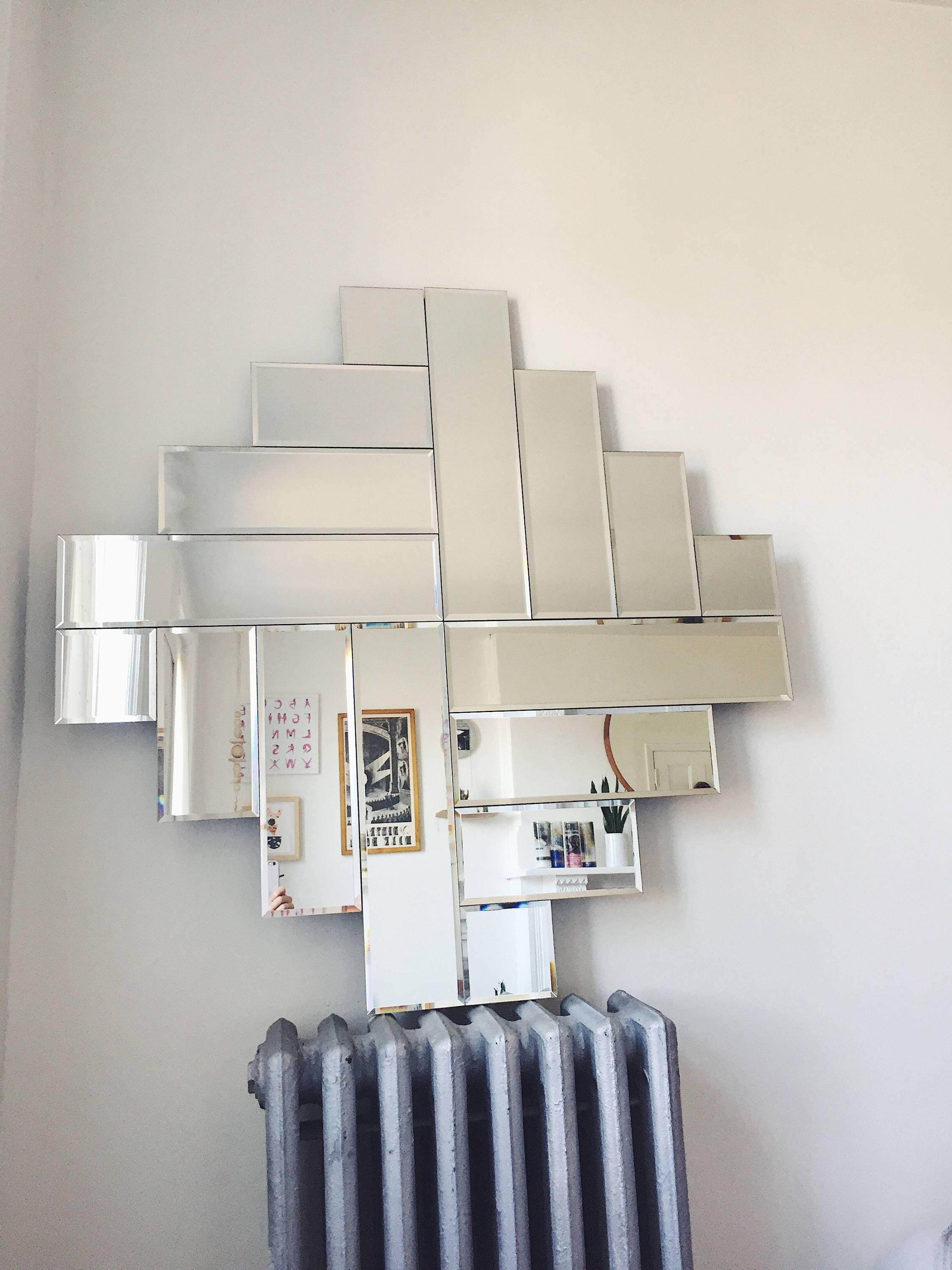 Vintage Large Mod Mirror . Frameless Beveled Mirror . Art Deco intended for Vintage Frameless Mirrors (Image 13 of 15)
