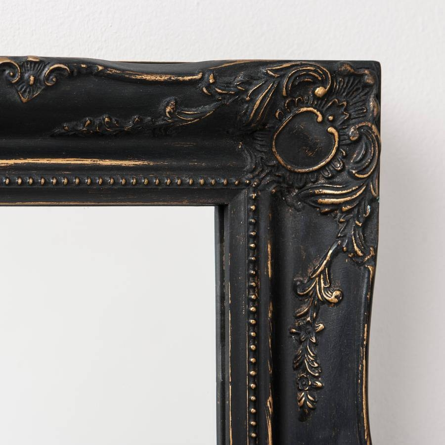 Vintage Matt Black Mirror Distressedhand Crafted Mirrors Pertaining To Black Mirrors (View 14 of 15)