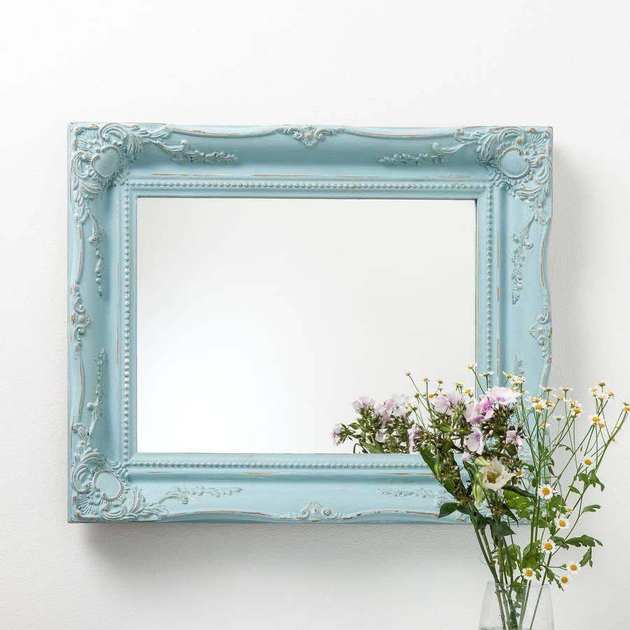 Vintage Matt Black Mirror Distressedhand Crafted Mirrors pertaining to Blue Distressed Mirrors (Image 13 of 15)