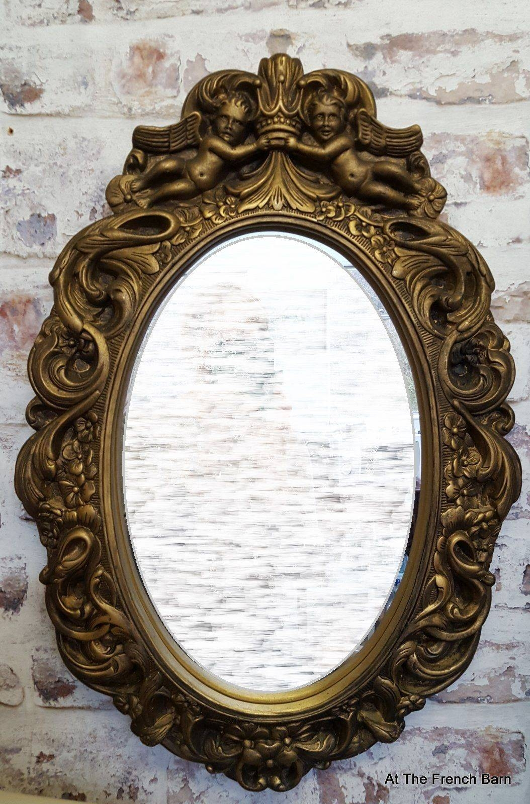 Vintage Mirror Carved Wood & Plaster With Cherubs - Antique Gold in Ornate Vintage Mirrors (Image 13 of 15)
