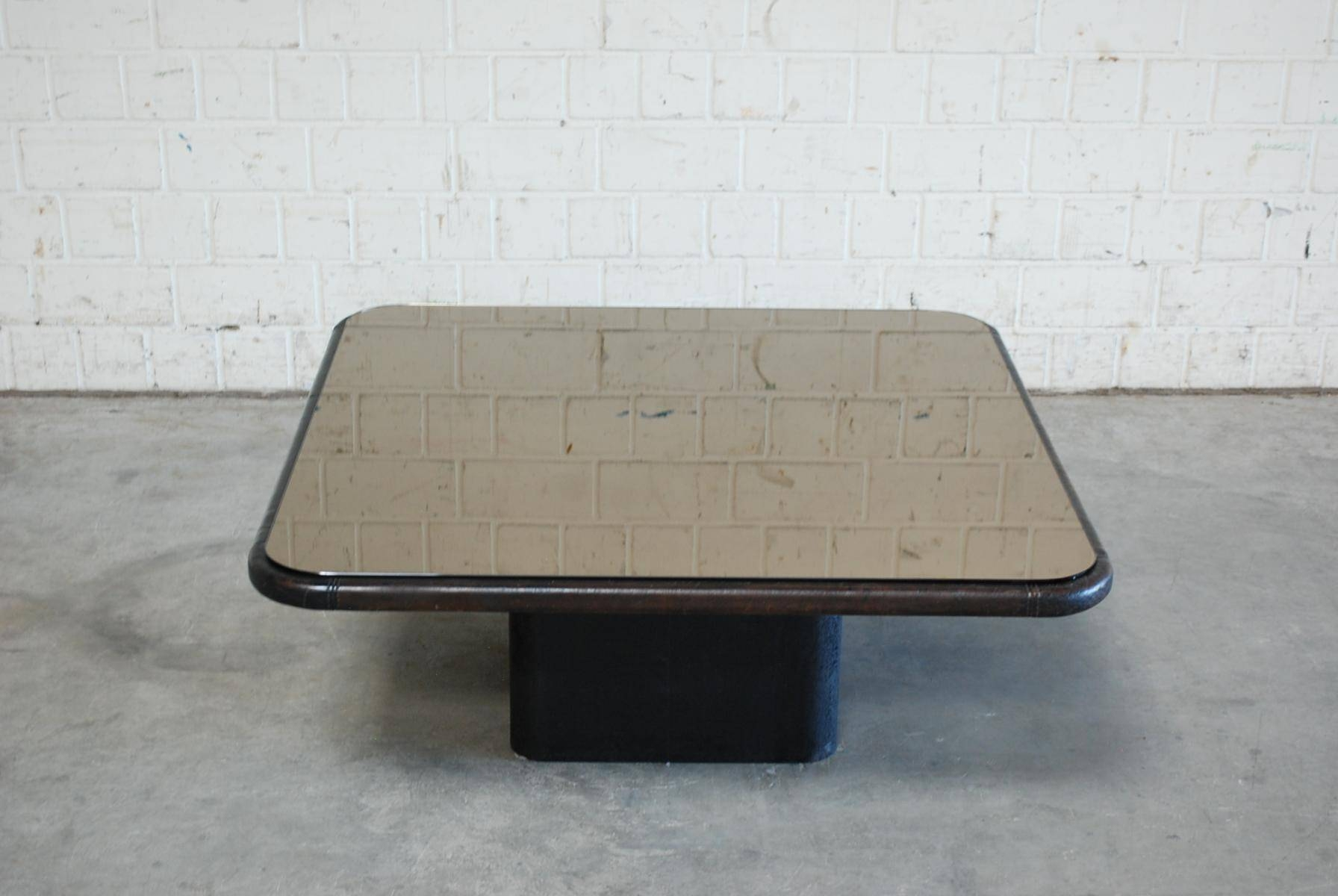 Vintage Mirror Glass And Leather Coffee Table From De Sede For for Mirror Glass Coffee Table (Image 15 of 15)