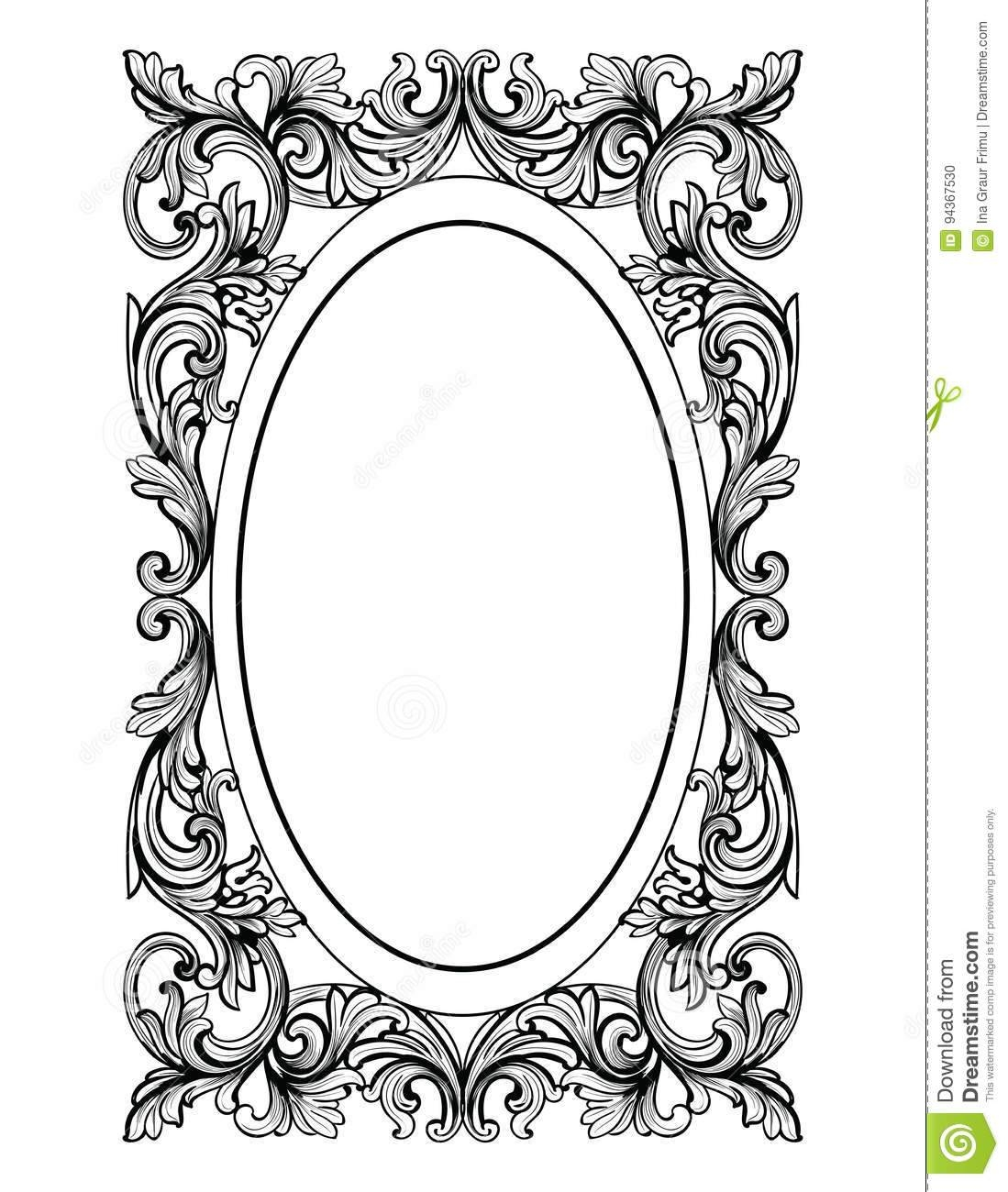 Vintage Mirror Oval Frame. Vector French Luxury Rich Intricate inside Black Victorian Style Mirrors (Image 14 of 15)